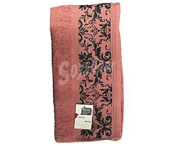 AUCHAN Toalla para baño, algodón color rosa, estampado jacquard, 450 gramos/m², 100x150 centímetros 1 Unidad