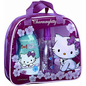 Charmmy Kitty neceser transparente con asas compuesto por gel de baño 3 en + spray corporal 100 ml + esponja 1 frasco 400 ml