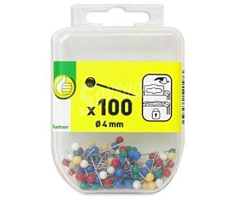 Productos Económicos Alcampo Caja de 100 alfileres memo con cabeza de 4 milímetros para pizarras de corcho y flexibles 1 unidad