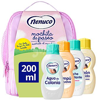 Nenuco Mochila rosa con agua de colonia + jabón líquido + champú + leche hidratante + gel higienizante de regalo pack