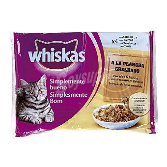Whiskas Comida para gatos Simplemente Bueno pescados a la plancha en trocitos con gelatina para gatos  Pack 4 x 85 g