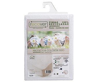 Recover Protector para colchón de 135cm., rizo impermeable, fibras recicladas, vinilo+aceite soja 1 unidad