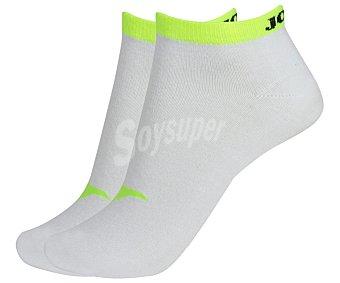 JOMA Pack de 2 pares de calcetines deportivos tobilleros invisibles, color blanco y amarillo fluor, talla 39/42 Pack de 2