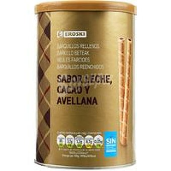 Eroski Barquillos rellenos de chocolate Lata 200 g