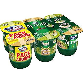 Activia Danone Fibras yogur 3 con cereales y kiwi + 3 con cereales Pack 6 unidades 125 g