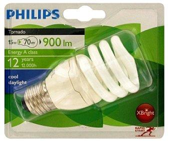Philips Bombilla espiral bajo consumo Tornado, 865, 15W, blanca fría, vida útil estimada 12 años, E27 1u