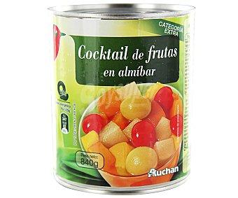 Auchan Cocktail de frutas (melocotón, pera, piña, uva y cereza ) en almíbar 480 gramos
