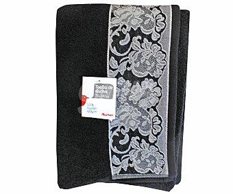 AUCHAN Toalla para ducha de algodón color negro estampado jacquard, 70x140 centímetros 1 Unidad