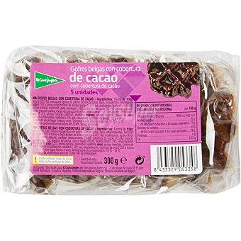 El Corte Inglés Gofres belgas con cobertura de chocolate envase 300 g 5 unidades
