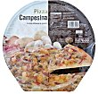 Pizza congelada campesina (champiñon, bacon, cebolla) u 390 g Hacendado