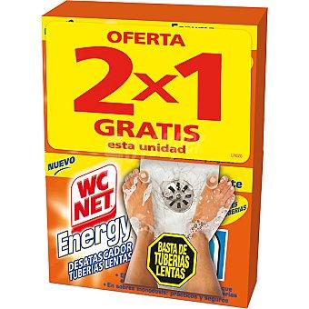 Wc Net Energy Desatascador Energy de tuberías lentas en polvo espuma desatascante caja 2 unidades pack 2x1 Caja 2 unidades
