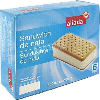 Aliada Sándwich con helado de nata estuche 600 ml 6 unidades