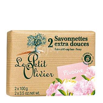 Le Petit Olivier Pastilla de jabón extrasuave peonia Pack 2x100 g