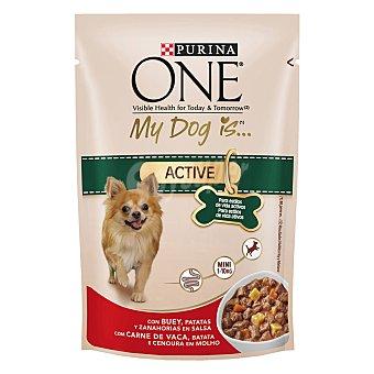 Purina One Menú para Perro Mini Active Buey, Patatas y Zanahorias en Salsa 100 gr