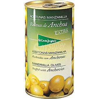 El Corte Inglés Aceitunas manzanilla rellenas de anchoa Lata 150 g neto escurrido