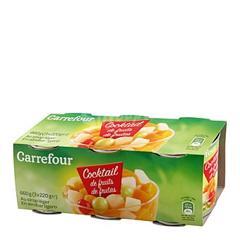 Carrefour Cocktail de Frutas en almíbar Pack 3x125 g