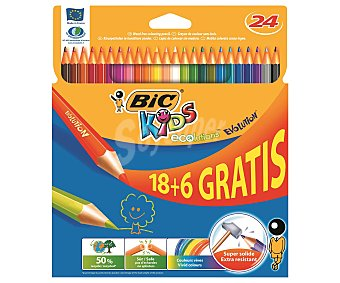 Bic Caja con 24 lápices para colorear, con mina extra dura y hechos de madera reciclada al 50% 1 unidad
