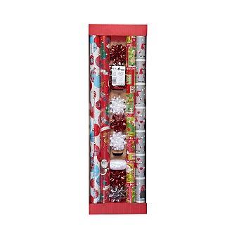 Bosque Verde Papel regalo set navidad rojo (4 rollos, 7 lazos y cintas) Paquete 4 rollos