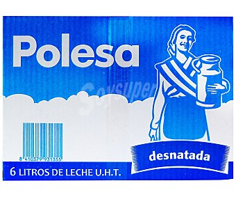 Polesa Leche desnatada Brik 6 Unidades
