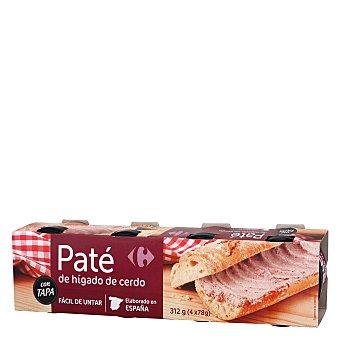 Carrefour Paté de hígado de cerdo Pack 4x78 g
