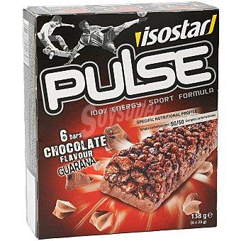 Isostar Barritas energéticas de chocolate y guaraná Pulse  6 uds x 23 g
