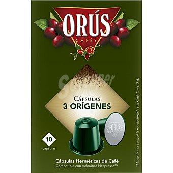 Orus Café 3 orígenes ápsulas estuche 55 g 10 c