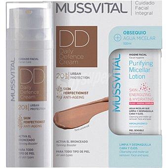 MUSSVITAL DD cream crema hidratante acción antiedad 20 Spf Urban Protection tono universal con regalo de agua micelar 50 ml