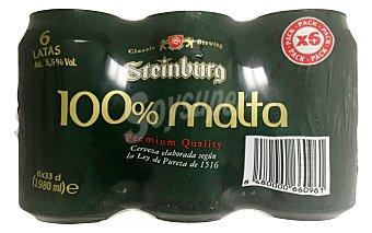 Steinburg Cerveza malta 100% (envase verde) Lata pack 6 x 330 cc - 1980 cc