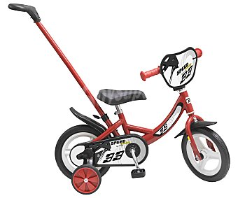 TOIMSA Speed Bicicleta Speed roja y negra de 10 pulgadas con ayuda direccional extraíble y estabilizadores TOIMSA.