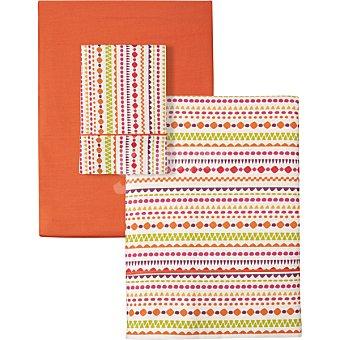 Unit Mandala juego de sabanas Ethnic color naranja para cama 105 cm