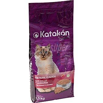 KATAKÁN Alimento Select para gatos esterilizados con pollo y verduras Bolsa de 1,5 kg