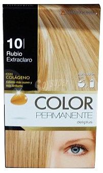COLOR PERMANENTE Tinte coloración permanente Nº10 rubio extraclaro (contiene colágeno para hidratar )  1 unidad