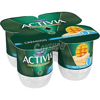 Activia Danone Yogur cremoso 0% materia grasa sabor mango 4 unidades de 120 g