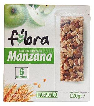 Hacendado BARRITA CEREALES FIBRA Y MANZANA CAJA 6 u