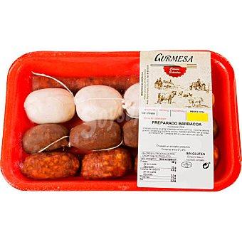 Gurmesa Preparado de barbacoa sin gluten peso aproximado bandeja 450 g con chorizo pincho picante, morcilla cebolla pincho, chistorra y butifarra bandeja 450 g