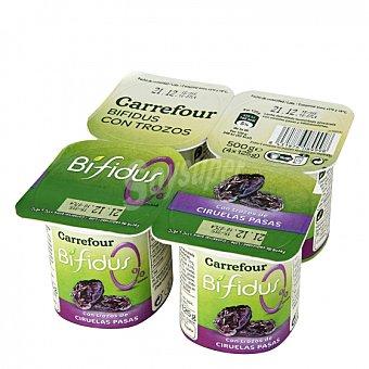 Carrefour Yogur bífidus desnatado con trozos de ciruelas pasas Carrefour Pack de 4 unidades de 125 g