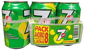 7Up Lima limón con gas (tamaño ahorro) PACK 8 latas de 330 cc