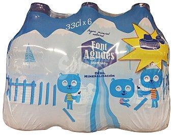 FONT AGUDES Agua mineral natural (tapon especial niños) Pack 6 x 330 cc - 1980 cc