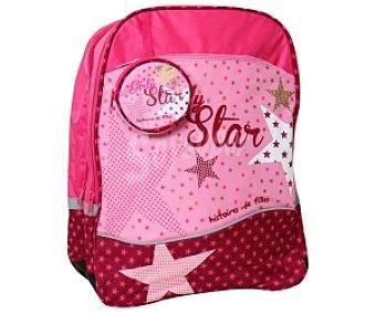 Auchan Mochila con Asas Reforzadas, Practico Bolsillo Redondo en el Frontal y de Color Rosa con Motivos de Estrellas 1 Unidad