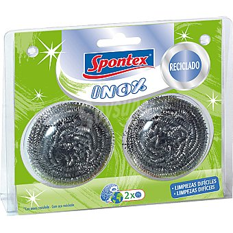 SPONTEX Inox estropajo metálico con acero reciclado  paquete 2 unidades