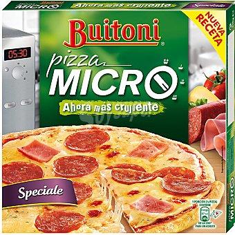 Buitoni Pizza Micro crujiente de pepperoni con jamón y queso especial microondas Estuche 310 g