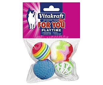 For You Vitakraft Bolas surtidas (juguetes para gatos) 4 unidades