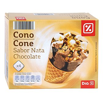 DIA Helado cono nata y chocolate caja 4 uds 252 gr 4 uds 252 gr