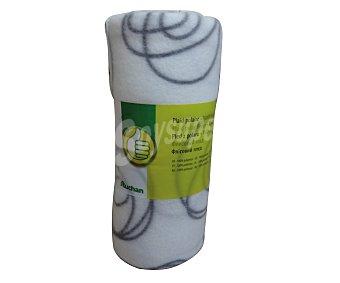Productos Económicos Alcampo Manta de forro polar estampada en color gris, fondo blanco, 130x160 centímetros 1 Unidad