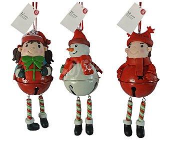 Actuel Colgante cascabel con muñeco de nieve, niño o niña, 12 centimetros, ACTUEL.