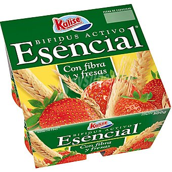 KALISE ESENCIAL Yogur con fibra y fresas Pack 4 envase 125 g