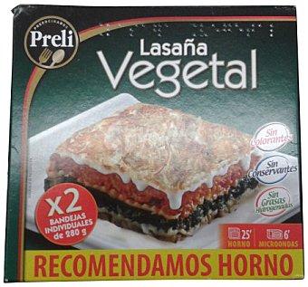 Preli Lasaña vegetal congelada Pack 2 unidades (560 g en total)