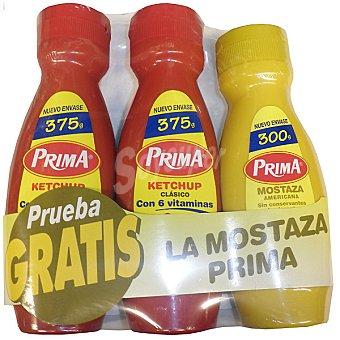 Prima ketchup clásico + regalo de mostaza envase 375 g pack 2 envases 375 g