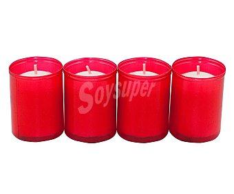 Aromático Lote de 4 velas blancas conmemorativa del número 40 con recubrimiento de plástico rojo aromático