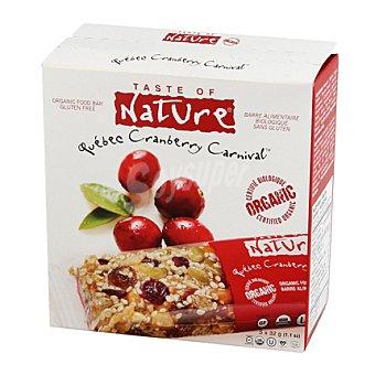 Taste of nature Barrita cereales con arándanos sin gluten ecológica Pack de 5x32 g